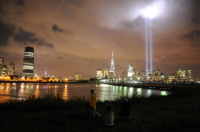 A look at the World Trade Center Lights on the 13th anniversary of 9/11 from Liberty State Park in Jersey City on Thursday, Sept. 11, 2014. Matt Gade | The Jersey Journal