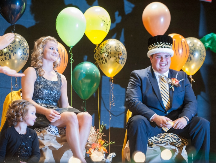"Emmie Honermann and Robert McCardle were crowned Mitchell High School's 2014 Homecoming Queen and King on Monday evening in the high school auditorium followed by the traditional 'Burning of the ""M""' at Joe Quintal Stadium. (Matt GadeRepublic)"