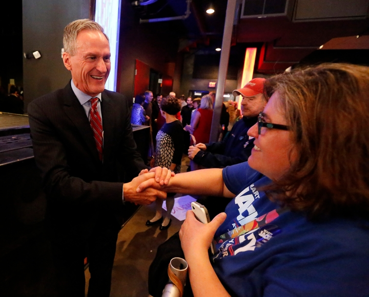 Gov. Dennis Daugaard has a laugh with his wife Linda after wininng re-election during the Republican Election Party on Tuesday night at The District restaurant in Sioux Falls. (Matt Gade/Republic)
