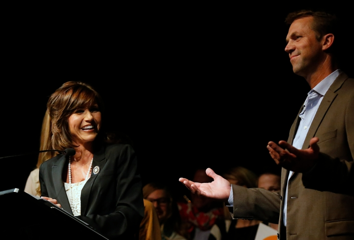 Rep. Krisit Noem has a laugh with her husband Bryon about how excited he was for her winning re-election during the Republican Election Party on Tuesday night at The District restaurant in Sioux Falls. (Matt Gade/Republic)