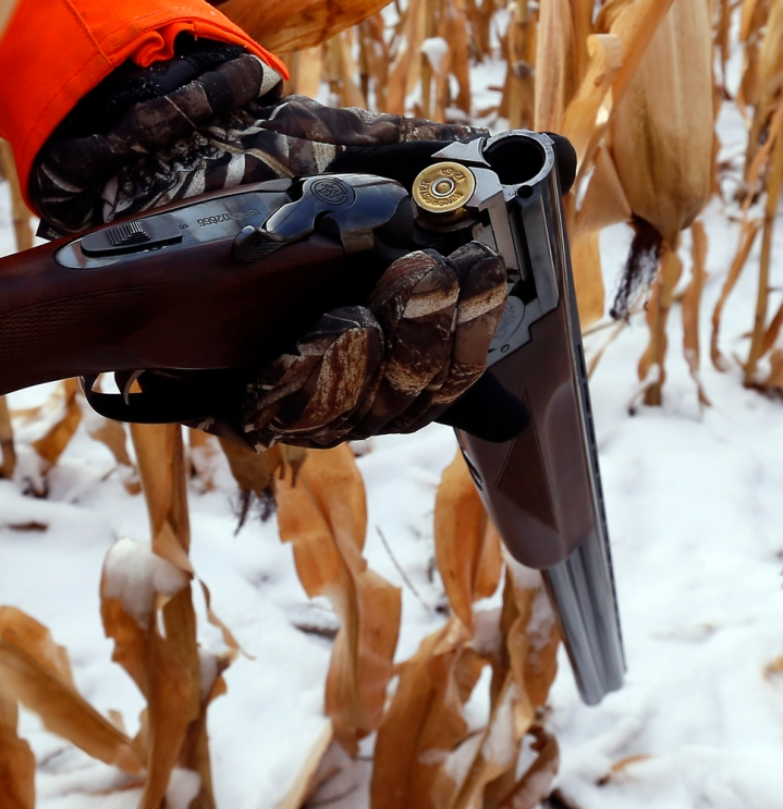 Terry Erwin loads his shotgun during a hunting trip at Firesteel Creek Hunting Lodge off HWY 281 on Tuesday morning near Plankinton. (Matt Gade/Republic)