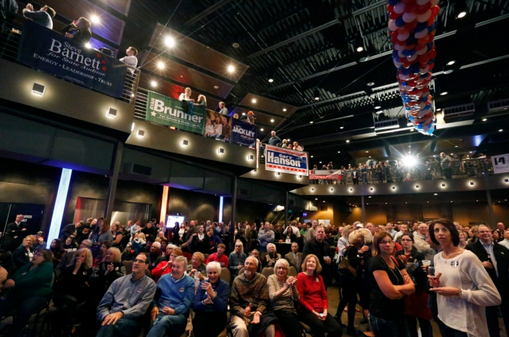 The crowd watches the big screen for the nationwide election results during the Republican Election Party on Tuesday night at The District restaurant in Sioux Falls. (Matt Gade/Republic)