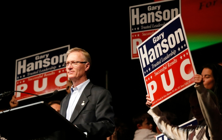 Gary Hanson is introduced to the crowd after winning re-election for the public utilities commissioner during the Republican Election Party on Tuesday night at The District restaurant in Sioux Falls. (Matt Gade/Republic)