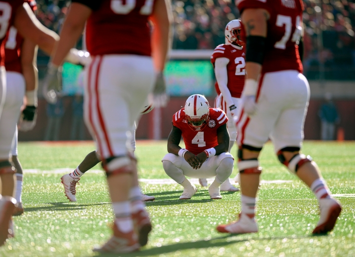 Nebraska Cornhuskers quarterback Tommy Armstrong Jr. (4) reacts after his pass to Nebraska Cornhuskers wide receiver De'Mornay Pierson-El (15) was caught but then stripped away by the Minnesota Golden Gophers defense at the goal line in the final minutes of the game and securing the win for the Gophes on Saturday at Memorial Stadium in Lincoln. (© Matt Gade)