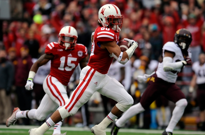 Nebraska Cornhuskers wide receiver Kenny Bell (80) runs for yards after the catch following a reception during a game on Saturday, Nov. 22 in Lincoln, Neb. (© Matt Gade)