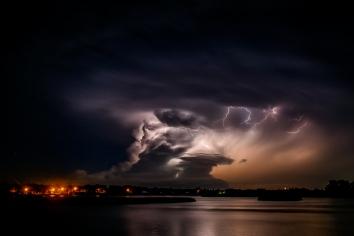 A storm rolls over Lake Mitchell on Thursday night. (Matt Gade)