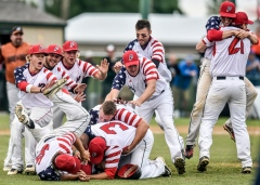 The Parkston Mudcats celebrate their 4-3 win over Alexandria for the Class B State Amateur Championship on Sunday at Cadwell Park. (Matt Gade/Republic)