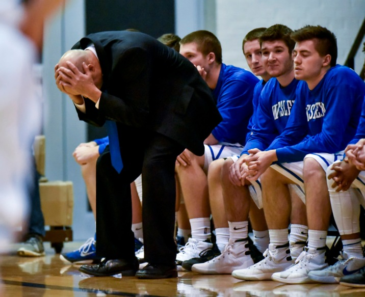 Dakota Wesleyan Head Coach Matt Wilber reacts to a miss basked by the Tigers during a game on Saturday at the Corn Palace in Mitchell. (Matt Gade/Republic)