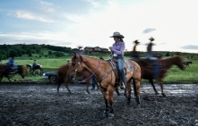 Faith Smith, from Ettrick, Wisc., waits her turn for the barrel racing while others make their way past her during the Wessington Springs Foothills Rodeo on Saturday, May 28 at the Jerauld County 4-H arena.