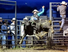 Ty Clearwater of Alpena competes in the bull riding as part of the Wessington Springs Foothills Rodeo on Saturday, May 28 at the Jerauld County 4-H arena.