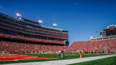 Nebraska Cornhuskers cornerback Chris Jones (8) takes a moment prior to the start of the second half of a game against the Wyoming Cowboys on Saturday, Sept. 10 at Memorial Stadium in Lincoln, Nebr.