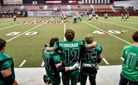 Colome's Noah Hermsen (24), Colome's Layton Thieman (12) and Colome's Will Cahoy (45) watch as the second team plays Langford Area Lions in the closing seconds of the Class 9B state championship game on Thursday at the DakotaDome in Vermillion. (Matt Gade/Republic)