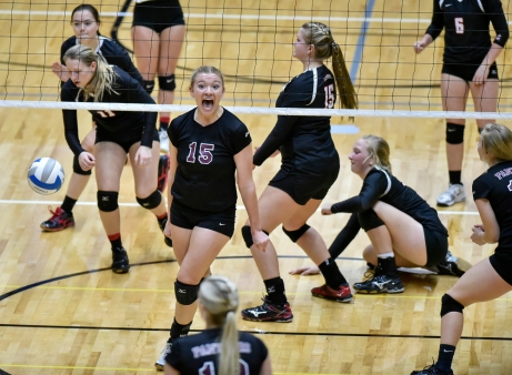 Platte-Geddes Panthers celebrates a game point in a match against Lyman during the Class B state tournament on Friday at the Huron Arena. (Matt Gade/Republic)