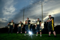 Mitchell's Spencer Mohr (55), Zeb Parsons (66), Alex Klingaman (77), Bryce Geraets (58) and Chris Corbett (67) have set the tone up front for the Kernels offensive success this year. (Date shot 10-11-2016)
