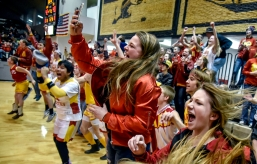 The Avon student body celebrates Lady Pirates 42-40 win over the Tripp-Delmont/Armour Nighthawks for the Region 6B championship game on Thursday at the Corn Palace.