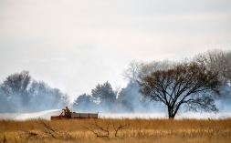 Members of the Letcher Fire Department with assistance from the Mitchell Fire Department responded to a grass fire north of 249th Street between 405th and 406th Avenue on Friday afternoon just south of Loomis.