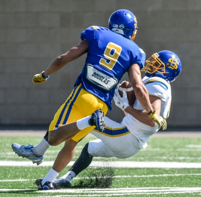 South Dakota State University wide receiver Jake Wieneke catches an over the shoulder pass just in front of defensive back Jordan Brown during the Jacks spring game on Saturday morning at the Dana J. Dykhouse Stadium.