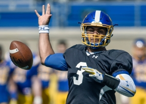 South Dakota State University quarterback Taryn Christion just loses control of the ball while looking to throw during the Jacks spring game on Saturday morning at the Dana J. Dykhouse Stadium.