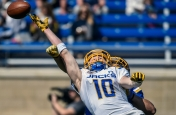 South Dakota State University wide receiver Alex Wilde is unable to make the catch as the ball is just a hair to far for him while defensive back Jordan Brown defends on the play during the Jacks spring game on Saturday morning at the Dana J. Dykhouse Stadium.