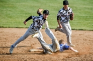 PG/DC/WL/CS' Cole Nachtigal tags out Winner/Colome's Carter Brickman at second base as teammate Seth Kirsch backs him up on the play during a game on Monday evening in Platte. (Matt Gade / Republic)