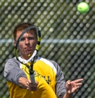 Mitchell's Carter Cavanaugh returns a serve while competing in No. 1 doubles action with teammate Jacob Dahme during a match against Yankton on Monday afternoon as part of quadrangular including Pierre and Vermillion.