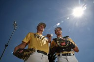Mitchell Post 18 seniors Jed Schmidt, left, and Sam Michels will become rivals next season as Schmidt will be attending Augustana University and Michels will be playing for the University of Sioux Falls.