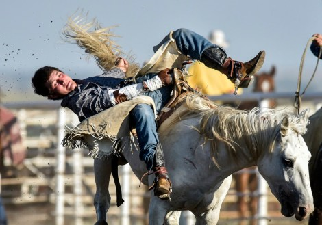 Jake Carmody, of Mobridge, does his best to hang on while competing in the bareback competition during the 28th Annual Burke Stampede Rodeo on Saturday night at the Burke, South Dakota Rodeo Arena in Burke.