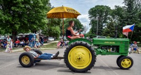 People line up across North Vyborny Street watching as parade floats go on by as part of the 69th Annual Czech Days parade on Friday in Tabor.