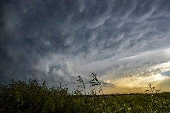 The clouds from a storm on Tuesday evening make their way Northeast past Alexandria. Seven tornadoes touched down from Tuesday's storm but minimal damage was reported.