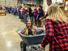 Wessington Springs seniors Keah Munsen, right, and Abby Von Eye get ready to race in the wheel barrow races while competing in the Ag Olympics in the Wessington Springs Ag building back in February as part of National FFA Week. (Matt Gade / Republic)