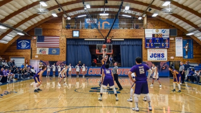 White River and Bennett County compete for the opening tip-off marking the start of the first game of the 50th Jones County Invitational Tournament on Thursday in the Harold Thune Auditorium in Murdo.